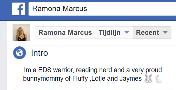 Facebook intro van Ramona