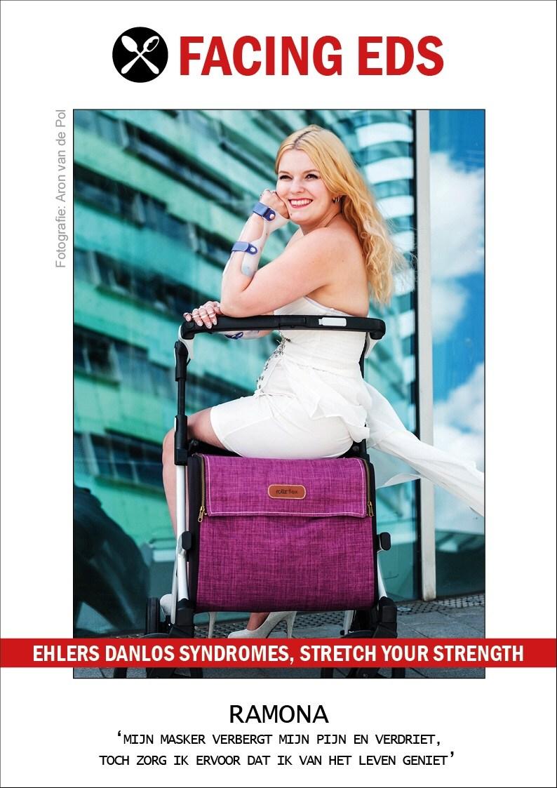 Ehlers Danlos Syndromes fotoshoot met rollator