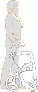 Gute Laufposition mit Rollator, gute Haltung, aufrecht, nahe am Rollator