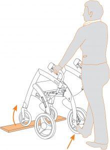 Mit Ihrem Rollator über eine Türschwelle oder eine Bordsteine gehen