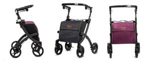 Rollz Flex matt black Rollator, denim grey and bright purple Tasche, 3x