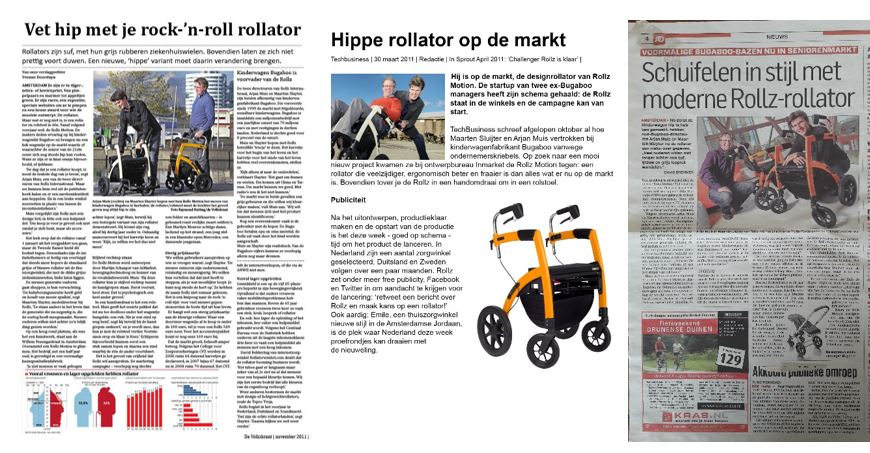 Hippe rollator in krantenartikelen