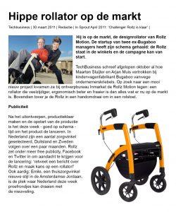 Hippe rollator op de markt, interview in Techbusiness 30 maart 2011