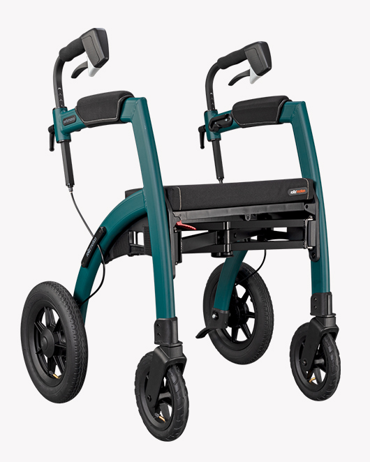 Jungle Green Rollz Motion Performance rollator with air tyres from side position