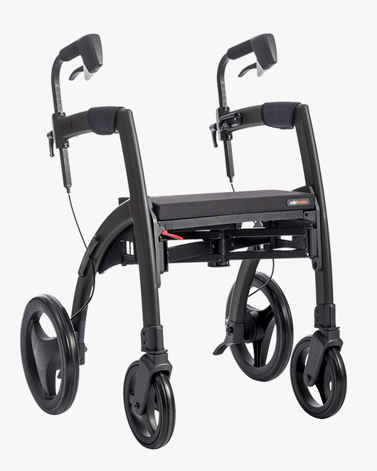 Black Rollz Motion Rhythm rollator from side position