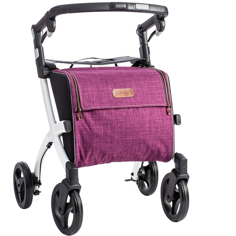 Stable rollator Rollz Flex with large capacity shopping bag