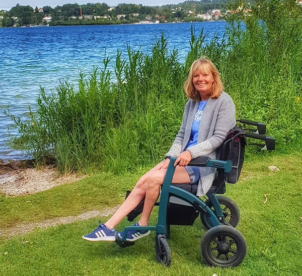Using a rollator with air tyres outdoors on uneven terrain
