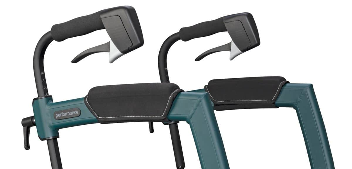 Soft and ergonomically shaped handles of the rollator with air tyres