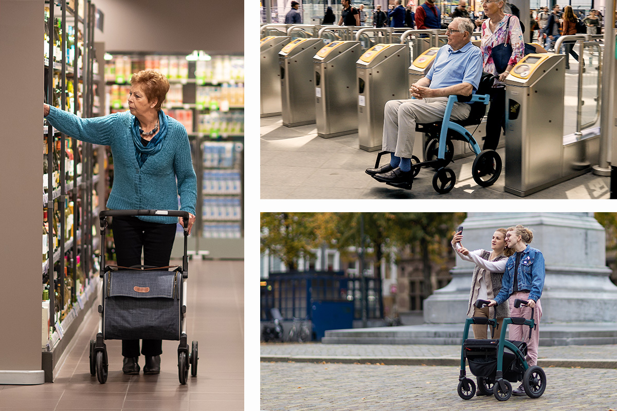 Customers using their Rollz rollators during their daily activities