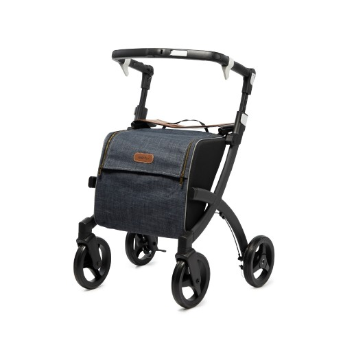 Rollz Flex flip brake, matt black frame, denim grey bag, regular size