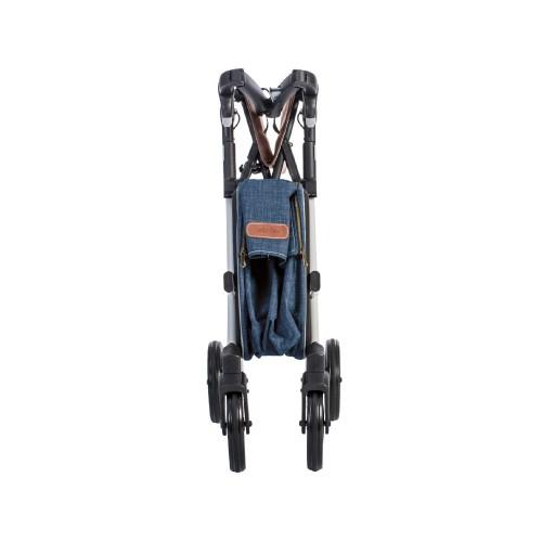 Rollz Flex flip brake, white frame, denim grey bag, regular size, folded