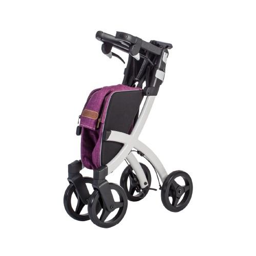 Rollz Flex classic brake, white frame, bright purple bag, regular size, folded