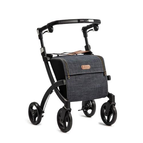 Rollz Flex classic brake, matt black frame, denim grey bag, regular size