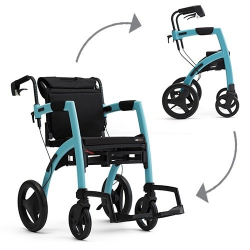 The Rollz Motion rollator and wheelchair in Island Blue.