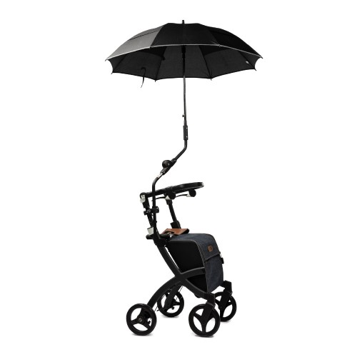 Rollz Flex umbrella attached to the frame of a black rollator