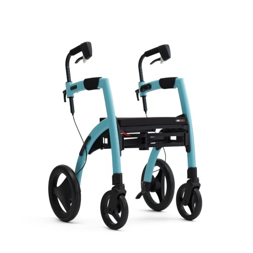 The Rollz Motion Island Blue in rollator position