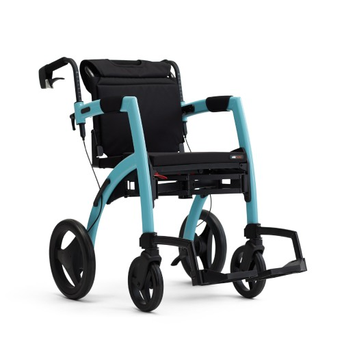 The Rollz Motion Island Blue in wheelchair position