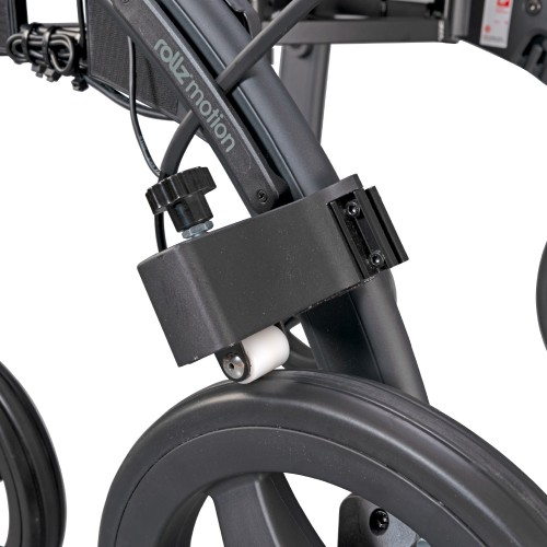 Rollz Motion drag brakes mounted on the rollator frame