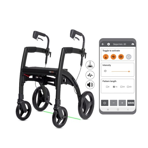 Rollz Motion Rhythm rollator with cues and app for Parkinson