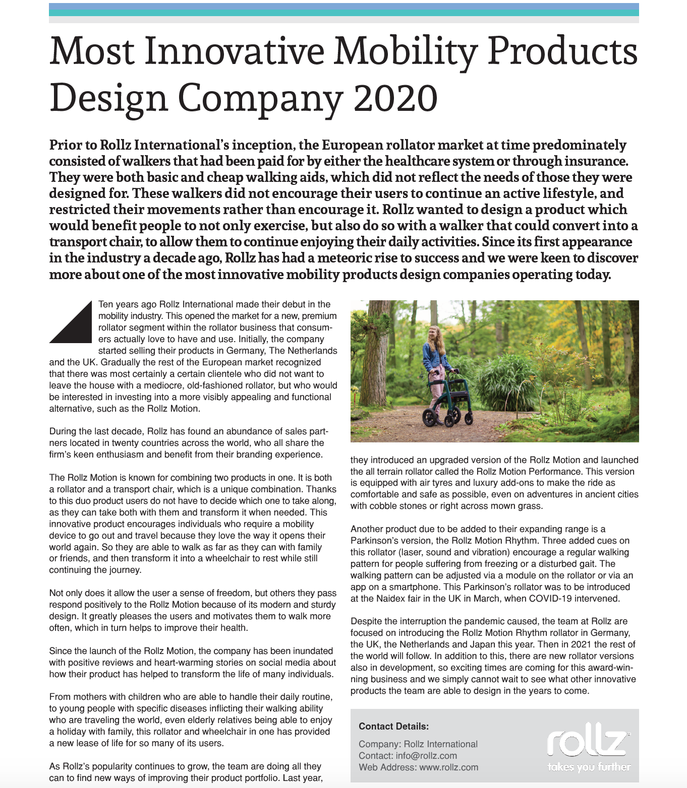 Most Innovative Mobility Products Design Company 2020
