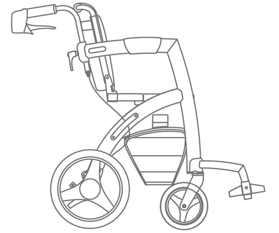 Drawing of the Rollz Motion rollator and wheelchair