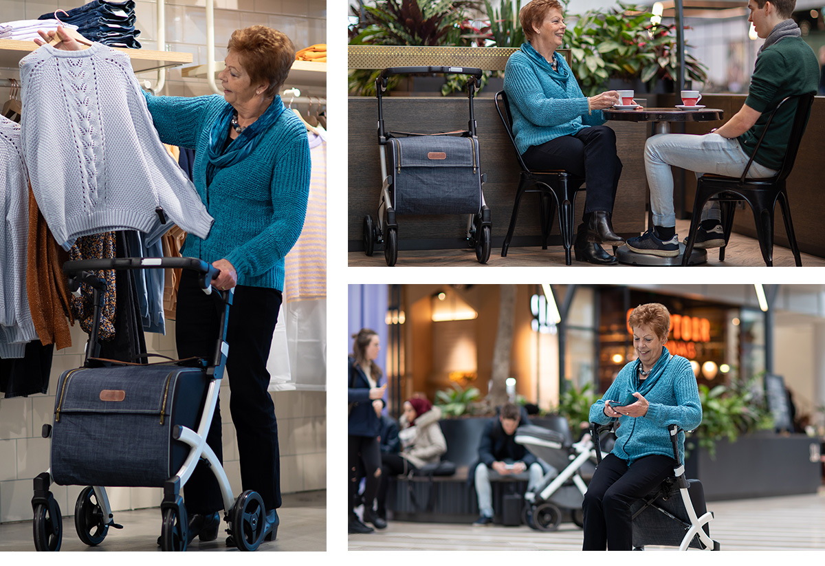 Woman using a Rollz Flex rollator with classic brake when going out for a shopping day