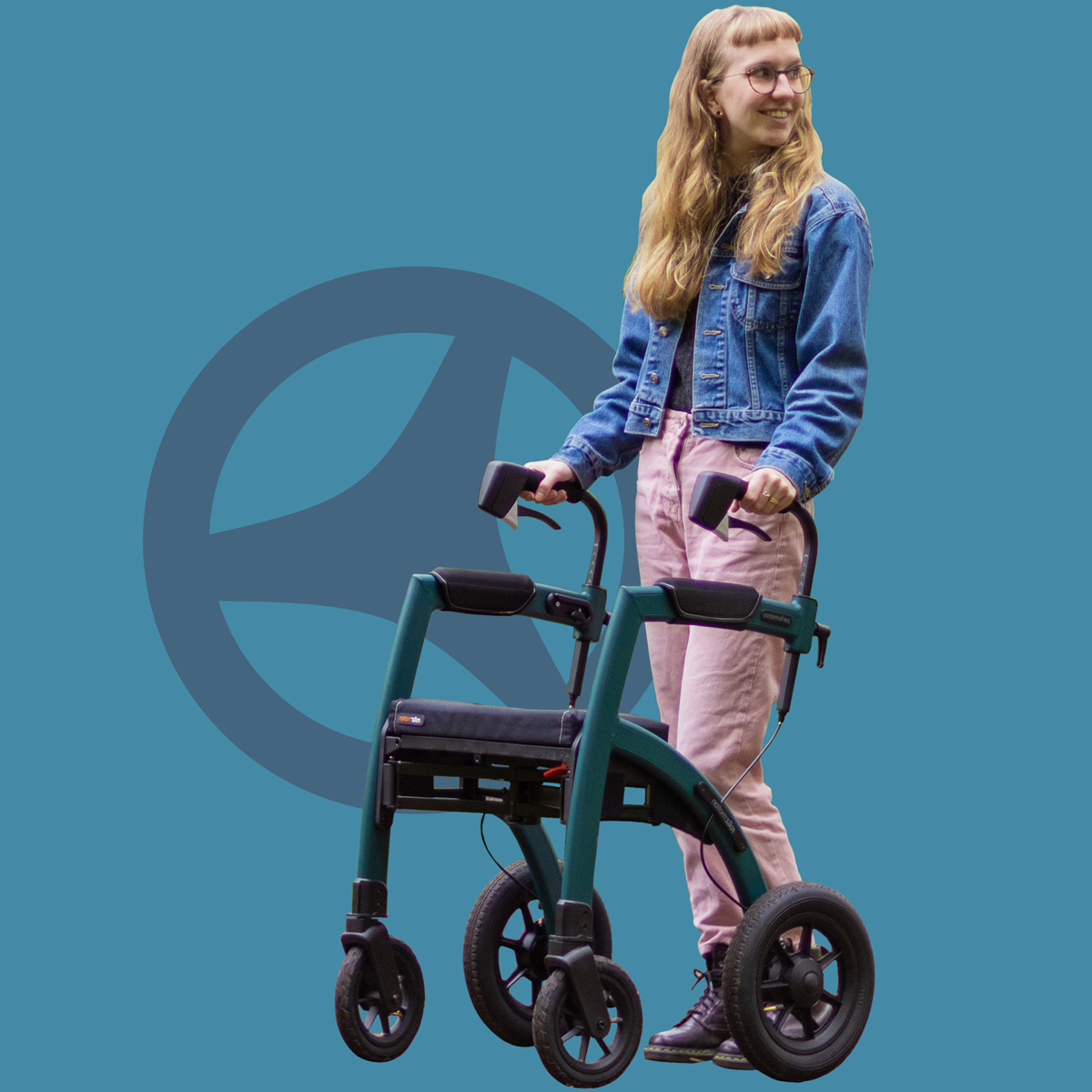 Woman pushing a green modern rollator with air tires
