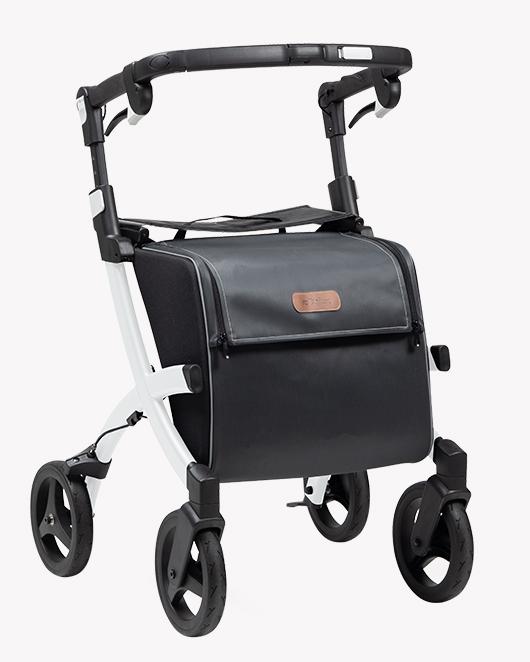 Rollz Flex 2 rollator with white frame and smokey grey bag